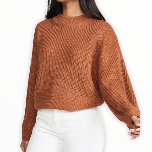 American Eagle brown waffle knit crew neck sweater